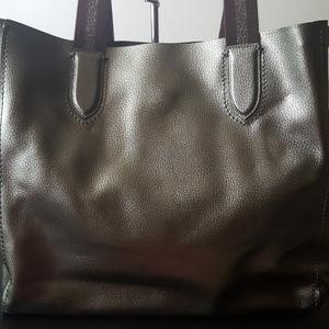 df9749ae2d9c Coach Bags - Coach Metallic Silver Large Derby Tote Bag F59388